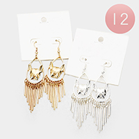 12Pairs - Bulldog Metal Bar Fringe Earrings