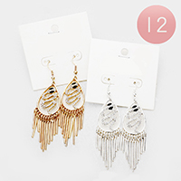12Pairs - Crystal Snake Metal Bar Fringe Earrings