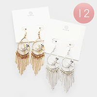 12Pairs - Crystal Lizard Metal Bar Fringe Earrings