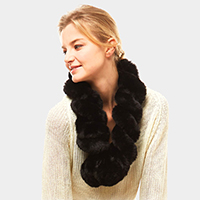 Twisted Faux Fur Pull Through Scarf