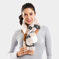 Color Block Faux Fur Pull Through Scarf