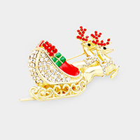 Crystal Embellished Rudolph Sleigh Pin Brooch