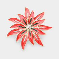 Crystal Christmas Poinsettia Flower Pin Brooch / Pendant