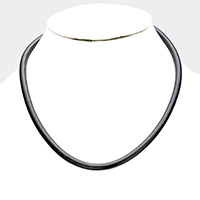 Faux Leather Plain Thin Necklace