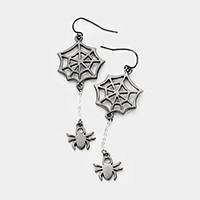 Halloween Metal Cobweb Drop Spider Dangle Earrings