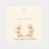 Gold Dipped Cubic Zirconia Triple North Star Earrings