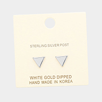 White Gold Dipped Triangular Metal Stud Earrings