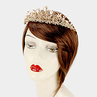 Floral Pearl Detail Crystal Pageant Queen Tiara