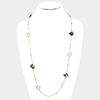 Celluloid Acetate Clover Station Long Necklace
