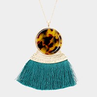 Tortoise Celluloid Acetate Fan Tassel Pendant Long Necklace