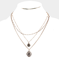 Layered Filigree Metal Quatrefoil Pendant Necklace