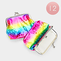 12PCS - Bubble Patterned Colorful Coin Clasp Purses