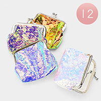 12PCS - Mermaid Tail Patterned Hologram Coin Clasp Purses