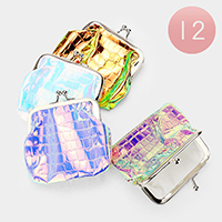12PCS - crocodile Patterned Hologram Coin Clasp Purses