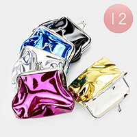 12PCS - Metallic Coin Clasp Purses
