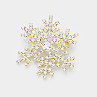 Crystal Pave Snowflake Pin Brooch