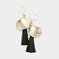Shell Tassel Dangle Lever Back Earrings