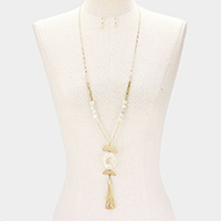 Celluloid Cut Out Acetate Detail Tassel Pendant Bead Long Necklace