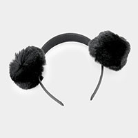 Faux Fur Pom Pom Ear Detail Headband