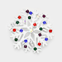 Crystal Round Snowflake Sequin Cluster Pin Brooch