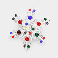 Multi Crystal Snowflake Bling Sequin Cluster Pin Brooch