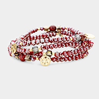 4PCS _ Natural Stone Beaded Stretch Bracelets
