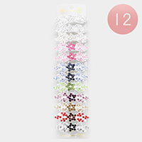 12PCS - Pave Crystal Flower Hair Barrettes