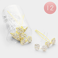 12PCS - Crystal Pave Bow Mini Hair Combs