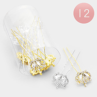 12PCS - Crystal Pave Crown Mini Hair Combs