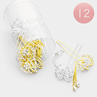 12PCS - Crystal Pave Bow Drop Double Chain Mini Hair Combs