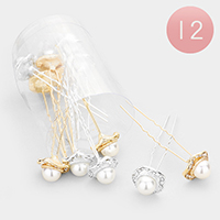 12PCS - Pearl Centered Mini Hair Combs
