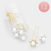 12PCS - Pearl Centered Crystal Flower Mini Hair Combs