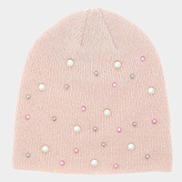 Pearl Embellished Soft Knit Beanie Hat