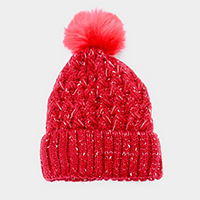 Soft Cable Knit Fleece Lining Faux Pom Pom Beanie Hat