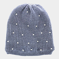 Pearl Embellished Soft Cable Knit Fleece Lining Beanie Hat