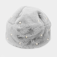 Pearl Embellished Furry Faux Fur Beanie Hat