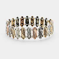 Embossed Oval Metal Stretch Bracelet