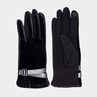 Solid Velvet Belt Detail Smart Touch Gloves