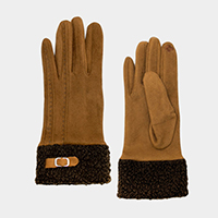 Solid Sherpa Fleece Cuff Detail Smart Touch Gloves