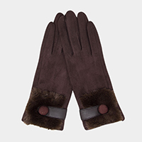Solid Faux Fur Detail Smart Touch Gloves