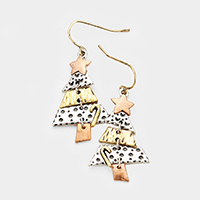 Metal Christmas Tree Dangle Earrings