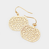 Brass Filigree Metal Pumpkin Dangle Earrings