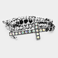 3PCS Multi Strand Beaded Metal Cross Stretch Bracelets