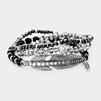 3PCS Multi Strand Beaded Metal Leaf Stretch Bracelets