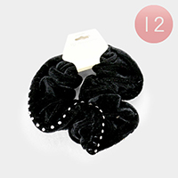 12PCS - Crystal Embellished Velvet Scrunchie Hair Bands