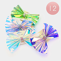 12Pairs - Oversized Hologram Bow Barrettes