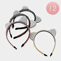 12PCS - Braided Hair Crystal Pave Cat Ear Detail Headbands
