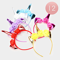 12PCS - Floral Unicorn Horn Accented Headbands