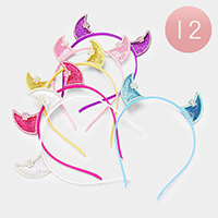 12PCS - Floral Crystal Trim Devil Ear Detail Headbands