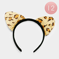 12PCS - Furry Faux Fur Leopard Cat Ear Detail Headbands